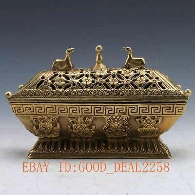Chinese Ancient Brass Handwork Carved Hollow flower Incense Burners & Lid