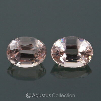 1.61 cts MORGANITE Pair Natural Soft Pink Oval Facet-cut Clean Gemstones Brazil