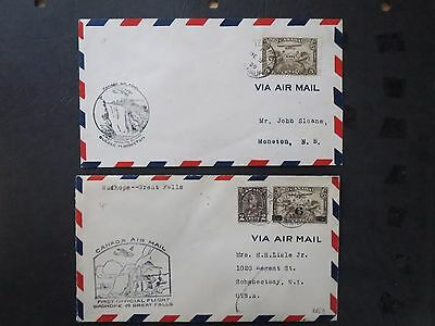 2 CANADA AIR MAIL COVERS  posted 1929 & 1933