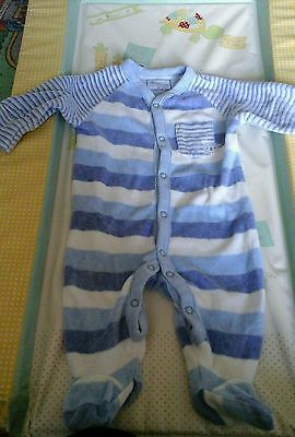 baby boys velour sleepsuit age up to 3 months