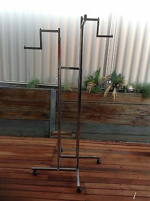 Stainless Steel Shop Commercial Clothing Rack Preowned Adjustable Height