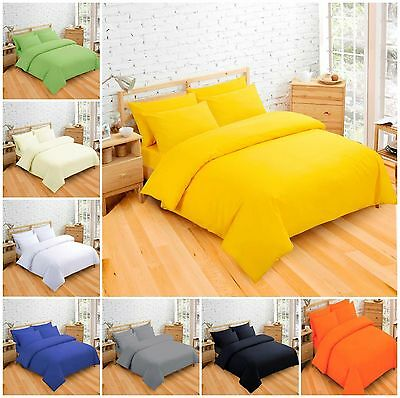 Plain Dyed Duvet Quilt Cover with Pillow Case Bed Set Single Double & King Size