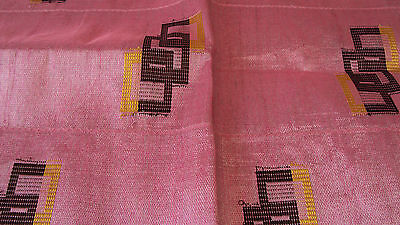 Nigerian Aso Oke Gele (Headtie) Pink With Brown & Yellow Design