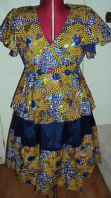 Ankara African Print Blue & Mustard Pleated Skirt & Wrap Top UK 18 / L