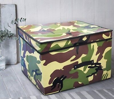 Camouflage Army Military Kids Large Storage Box Tidy Chest Foldable Brown Green