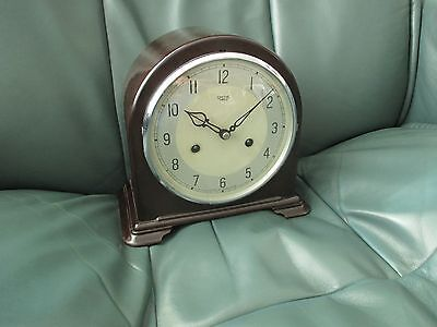 BAKELITE SMITHS ENFIELD 8 DAY MANTLE CLOCK WITH PENDULUM & KEY WORKING 1940s