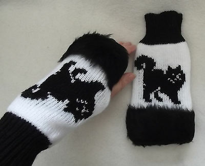 CAT BLACK on NEW knitted adult size FINGERLESS GLOVES with fur trim