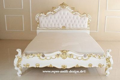 barock bett louis xv gotik k nigsbett mahagoni massivholz prunkbett wei 180 cm eur. Black Bedroom Furniture Sets. Home Design Ideas