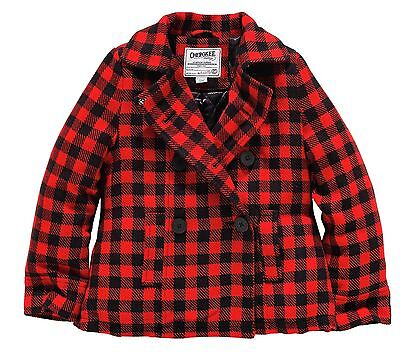 Girls Beautiful Red Check Coat Quilted Lining 5-6 7-8 9-10 Yrs Free Uk P&p