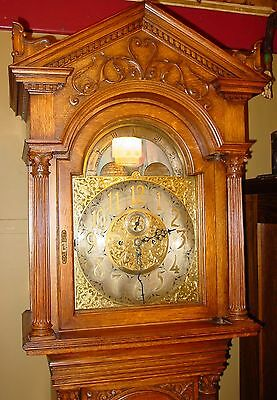 Superior oak tall case grandfather clock Tiffany-moon dial-Elliot movement-15276