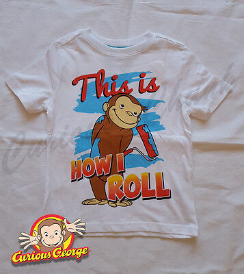 Childrens Curious George Kids T-shirt 'How I Roll' Age Sizes 4 5 UK Seller