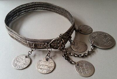 "ANTIQUE ORIGINAL OTTOMAN SILVER hand-knitted NECKLACE ""BITCH""+silver coins XIXc"