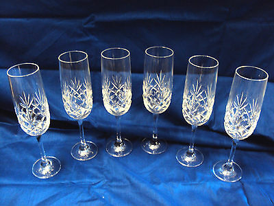 Stunning Set of 6 Crystal Cut Glass Champagne Flutes Glasses, Lead Crystal,