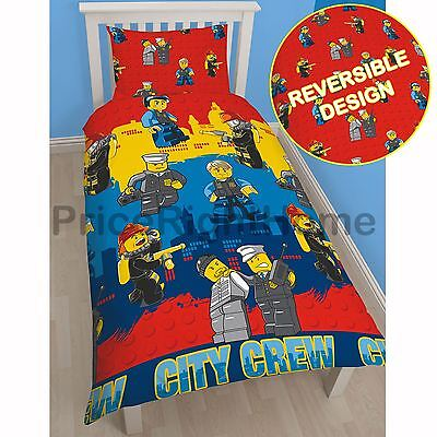 Lego City Heroes Single Rotary Duvet Cover & Pillowcase Set Official Bedding New