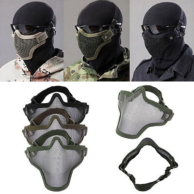 Steel Mesh Half Face Mask Guard Protect For Paintball Airsoft Game Hunting PL