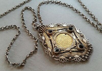 Antique Ottoman gilded silver filigree medallion & necklace + GOLD COIN XIXCent.