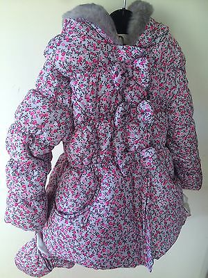 Girls Stylish Floral Winter Coat jacket in Size 3-4  New