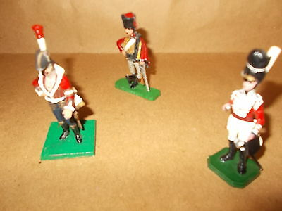 Painted Metal 3 British Napolionic Figures Inc. Hussar - 54Mm -Approx