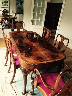 Antique Queen Anne Style Walnut Dining Table & Chairs Raspberry Velvet 8 seater