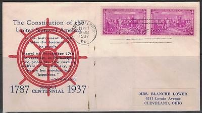 US Sc# 798 FDC Cacheted 1937 Constitution