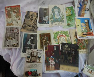 COLLECTION OF OLD  clock postcards