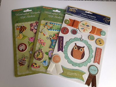 3 packs spring/autumn theme 3D stickers inc. Little Yellow Bicycle - card-making