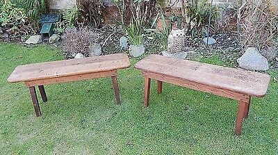 Super Pair of Antique late Victorian, (arts & crafts), Oak Bench Seats,