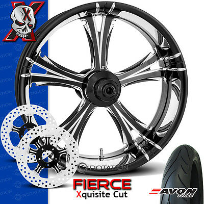 """Xtreme Machine Fierce Xquisite Contrast Cut Wheel Front Package Harley 21"""""""