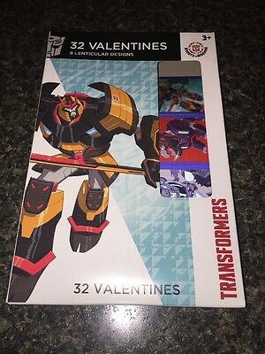 Kid's Valentine's Day Box 32 Lenticular Cards Transformers Robots New