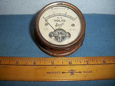 Early Working Hoyt Red Brass DC Voltmeter 2 1/4 inch (0-3 vdc) Exposed Movement