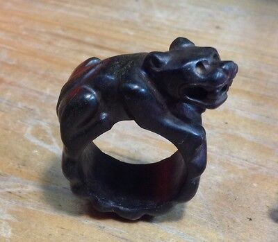 Pre Columbian Style, Modern Jaguar Ring, On Serpentine Stone, Size 9.