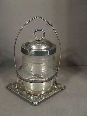 Vintage Jeb Epns England Metal And Glass Pickle Castor