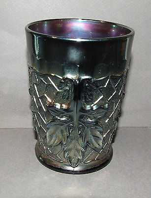Carnival Glass Tumbler Antique Vintage Dugan Dark Amethyst Mapleleaf (Cg12)
