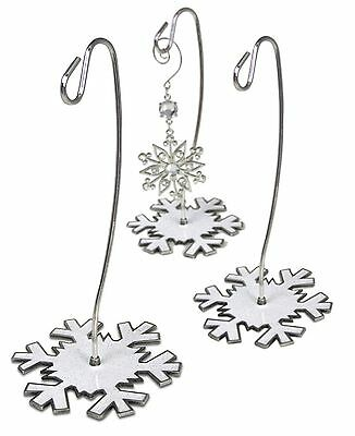 Glitter Snowflake Display Stands - Set of 3 Silver Stands with White Snowflak...
