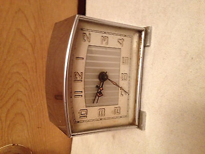 german Art Deco fully working chrome  Clock,with alarm DRGM movement,