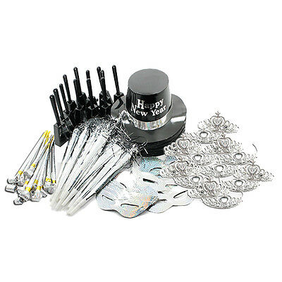 New Years Eve Ultimate Silver Black Party Pack Kit for 25 People