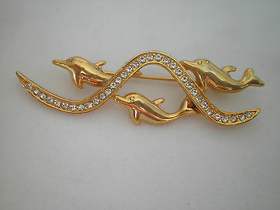Vintage Swimming Dolphin Brooch Pin Gold Tone Metal diamante detail