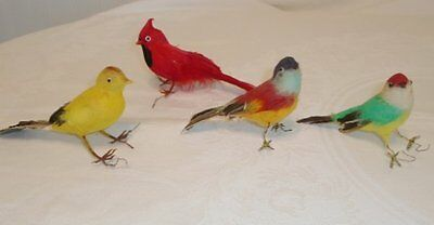4 Vtg Antique Christmas Tree Bird Ornaments Real Feathers Wire Feet VGC