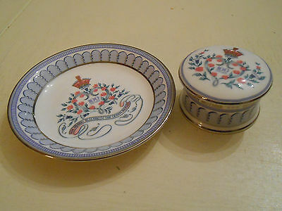 The Royal Collection Plate and Lidded Trinket Pot Queen Mother's 100th Birthday