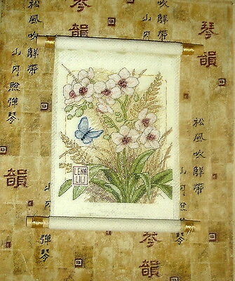 Dimensions Completed Counted Cross Stitch Tapestry Unframed Asian Blossoms