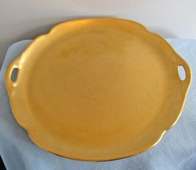 """PICKARD ENCRUSTED GOLD  ROSE AND DAISY PATTERN 11"""" Handled Cake Plate"""