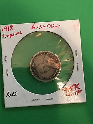 1918 Australia Six Pence Silver World Foreign Coin Ultra Rare Key Date