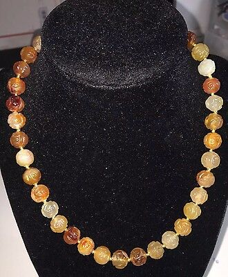 Estate Vintage Hand Carved Carnelian Lot Beads Shou Chinese Asian Necklace Old