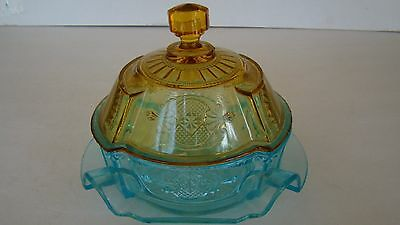 Antique Colored Pressed Glass Covered Butter Dish