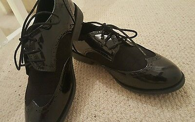 Black ou patent and suede effect ladies lace up brogues flat shoes 8/41
