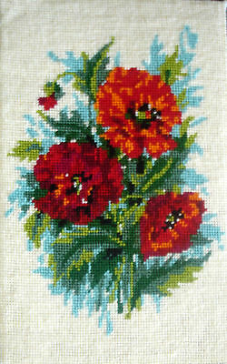 Penelope Completed Tapestry Cross Stitch Picture Hard Backed Unframed Poppies