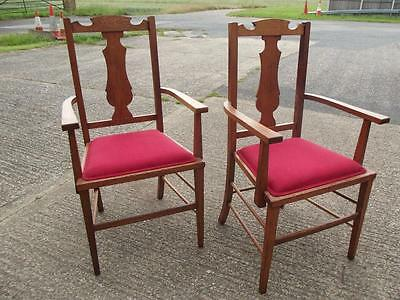 Matching Pair  Arts & Crafts Oak Carver Elbow Chairs