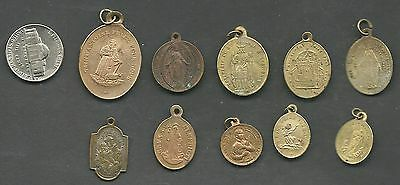 """Lot Of  10 Vintage """"copper""""  Catholic Medal- Religious Medals"""