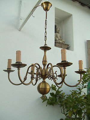 Vintage Dutch Flemish style brass chandelier 6 lights