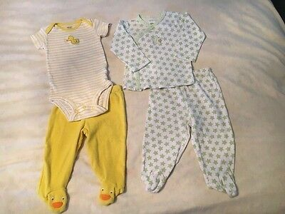 Unisex Outfits -Carter's - Size 6 months - Yellow Duckies and Green Stars